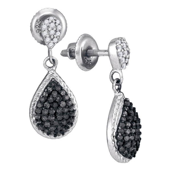 10kt White Gold Womens Round Black Color Enhanced Diamond Teardrop Cluster Dangle Earrings 1/2 Cttw