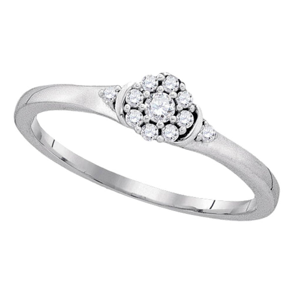 10kt White Gold Womens Round Diamond Cluster Promise Bridal Ring 1/6 Cttw