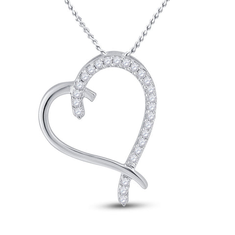 10kt White Gold Womens Round Diamond Heart Pendant 1/6 Cttw