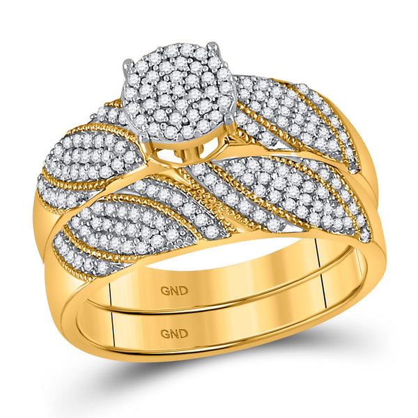 10kt Yellow Gold Womens Round Diamond Cluster Bridal Wedding Engagement Ring Band Set 3/8 Cttw