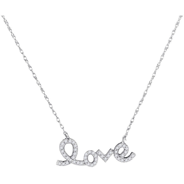 10kt White Gold Womens Round Diamond Love Pendant Necklace 1/6 Cttw