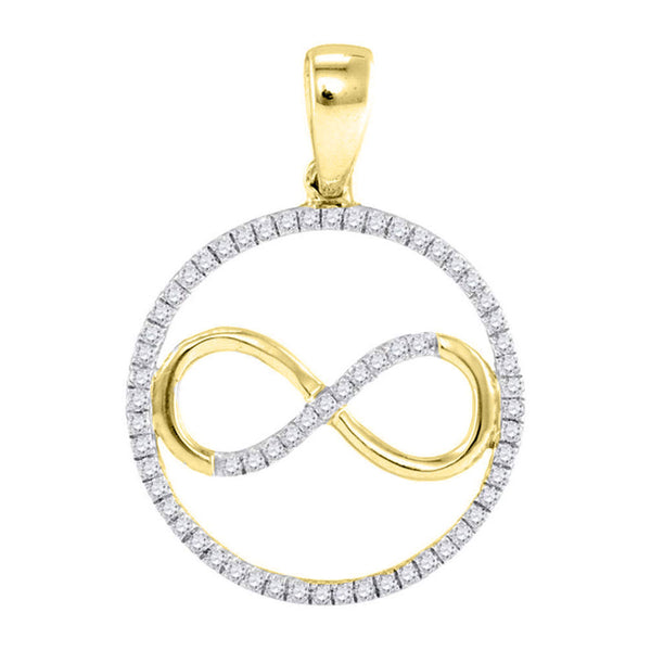 10kt Yellow Gold Womens Round Diamond Infinity Circle Pendant 1/4 Cttw