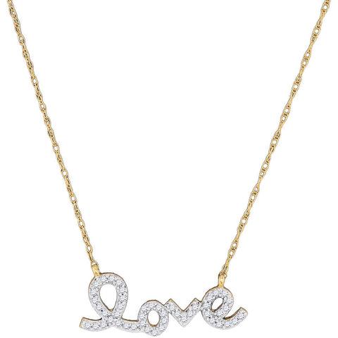 10kt Yellow Gold Womens Round Diamond Love Pendant Necklace 1/6 Cttw