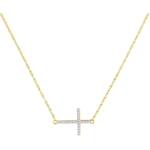 10kt Yellow Gold Womens Round Diamond Sideways Horizontal Cross Pendant Necklace 1/20 Cttw