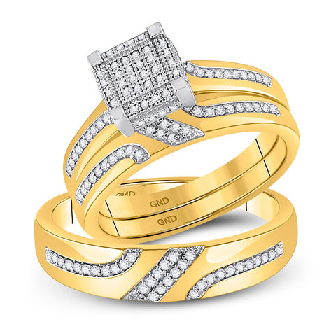 10kt Yellow Gold His Hers Round Diamond Square Matching Bridal Wedding Ring Band Set 1/3 Cttw