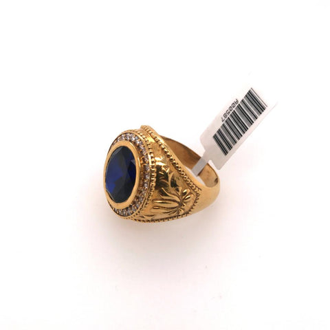 Gold Ring with Blue Oval Stone