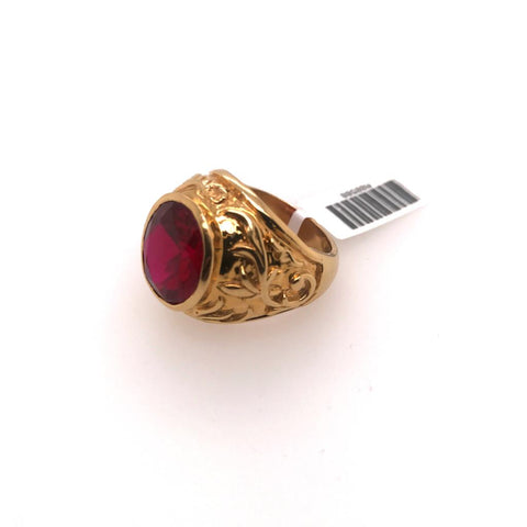 Gold ring with Red Oval Stone
