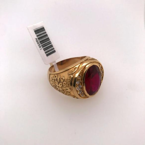 Ring with Red Stone and Cubic Zirconia