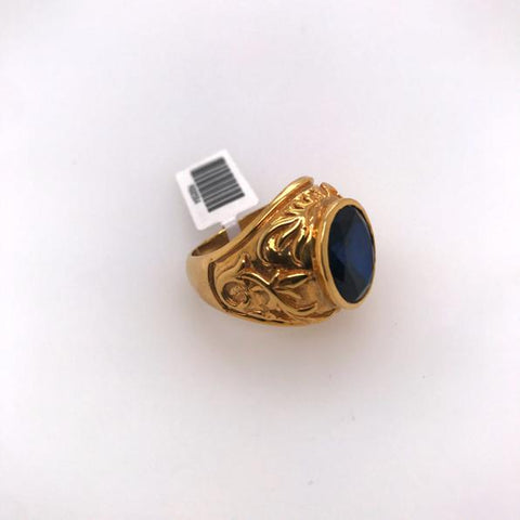Gold Ring with Round Blue Stone