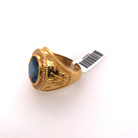 Oval Blue Stone Ring with Cubic Zirconia