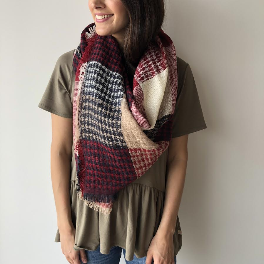 Cranberry Blanket Scarf