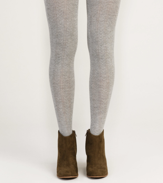Heather Grey Cable Knit Tights