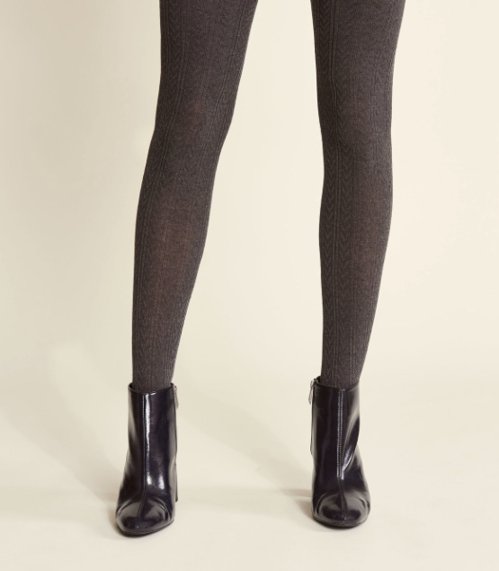 Charcoal Cable Knit Tights