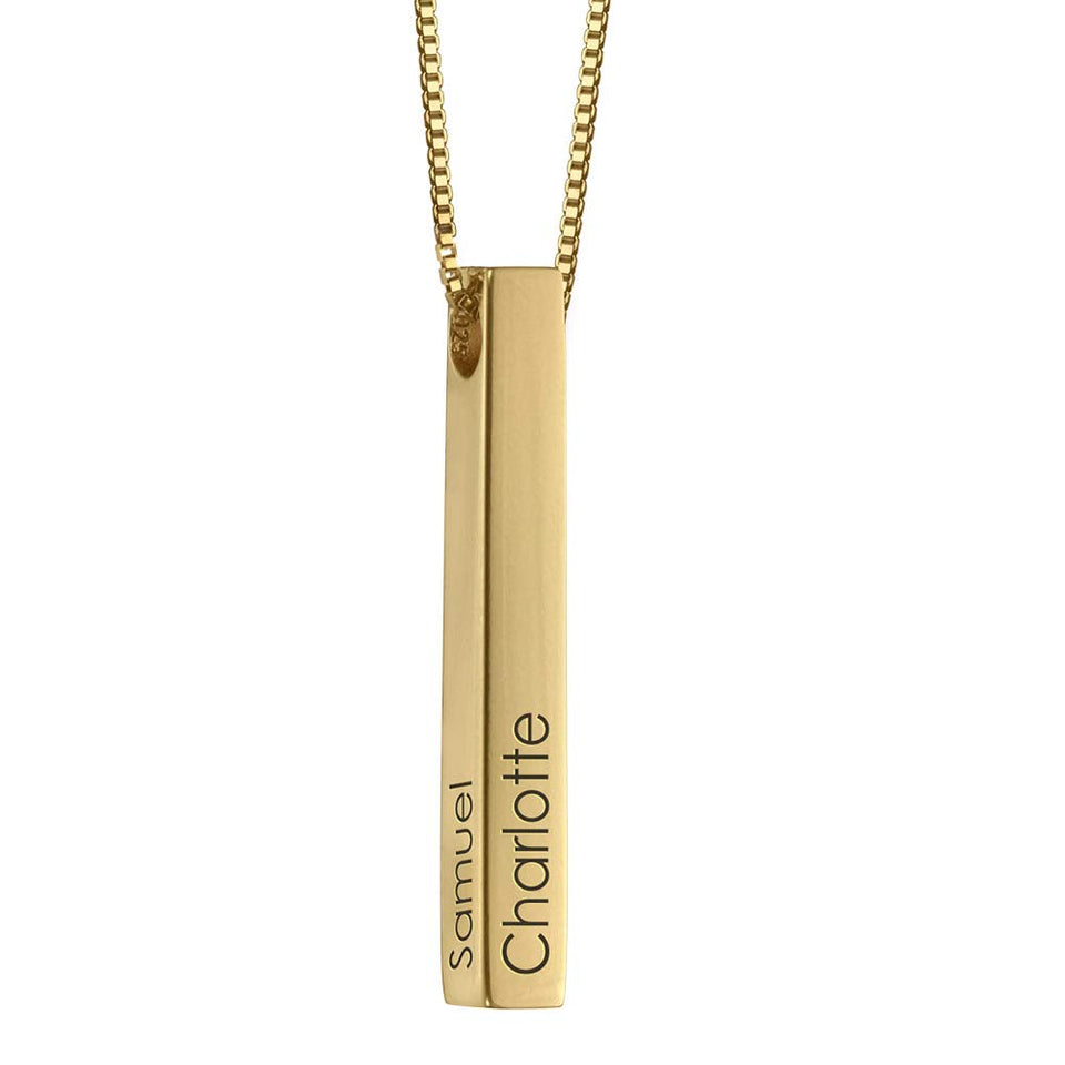 Personalized 4 Sided Vertical Engraved 3D Bar Necklace
