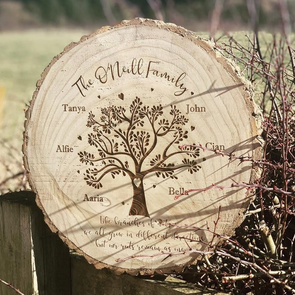 Personalised Engraved Family Heart Tree Log Slice Large