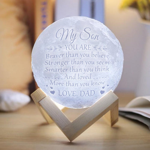 Dad To Son - Brave and Smart Moon Lamp