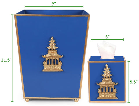 Regency Wastebasket and Tissue Box Size Chart