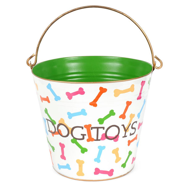 "Dog Bones Multi Color ""DOG TOYS"" Pail"
