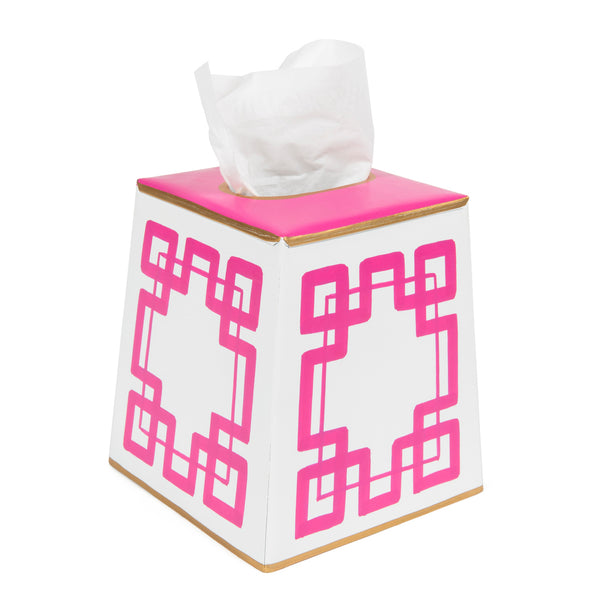 White and Pink Interlocking Key Tissue Box Cover