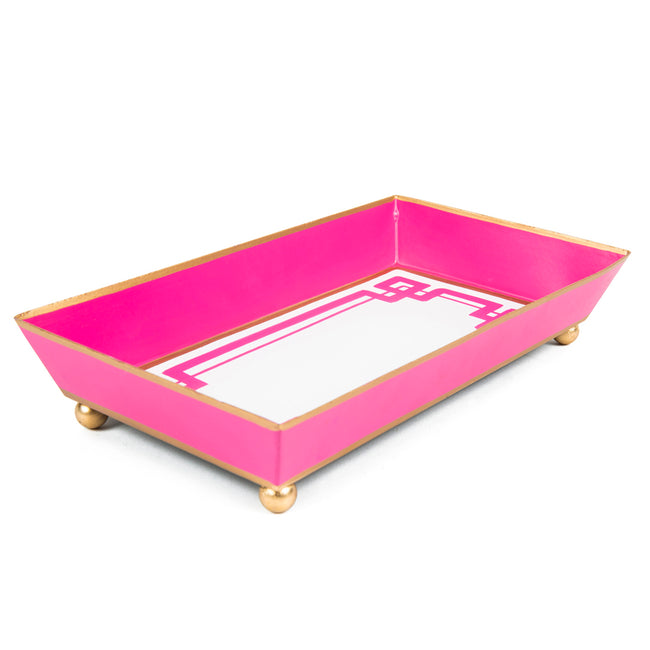 White and Pink Interlocking Key Guest Towel Tray