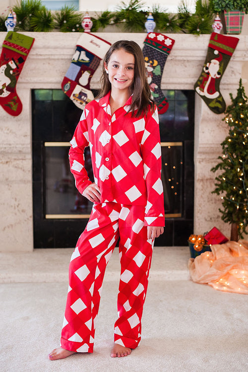 Kid's Buffalo Red Sateen Full Pajama Set