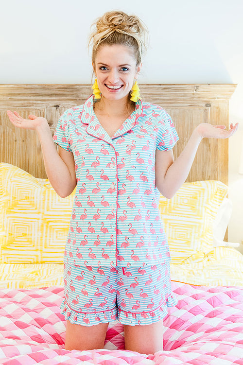 Cabana Sateen Ruffled Summer PJ Set