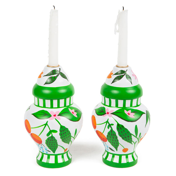 Floral Fruit Ginger Jar Candle Holder(2pk)