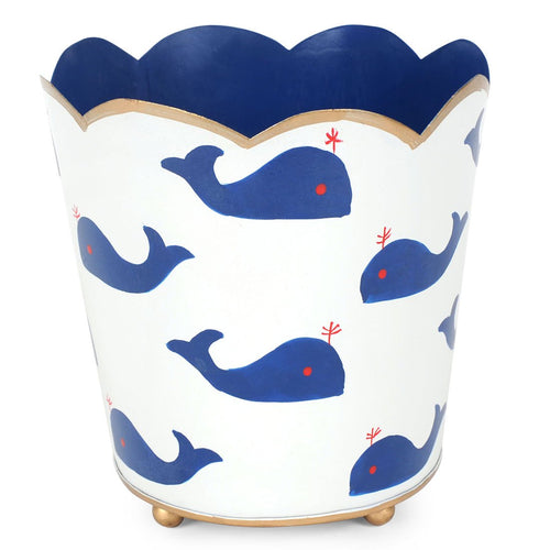 "Whales Navy Decorative 6"" Cachepot"