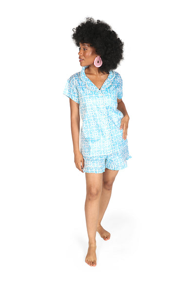 Garden Gate Sateen Ruffled Summer PJ Set