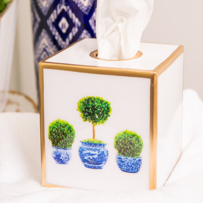 Topiary Trees Enamel Tissue Box Cover
