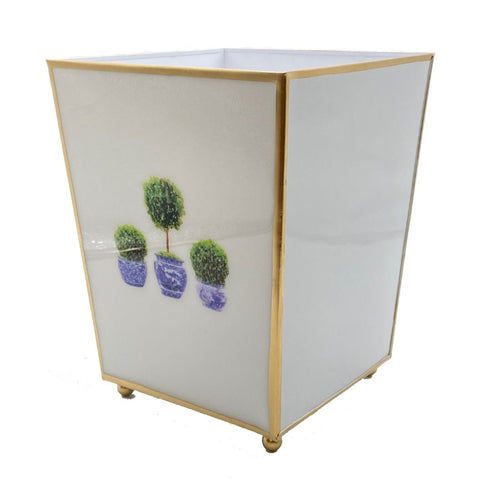 Topiary Trees Enameled Wastebasket