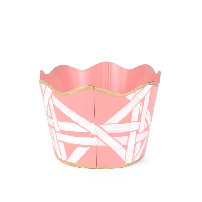 "Cane Pink 8"" Oval Cachepot"