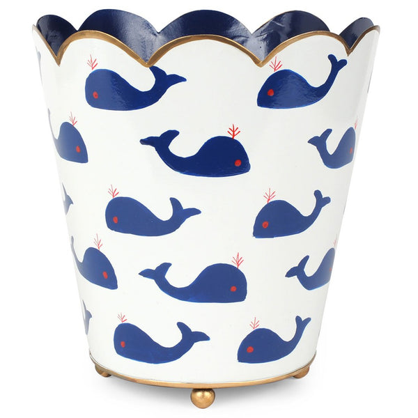 Whales Scallop Top Wastebasket