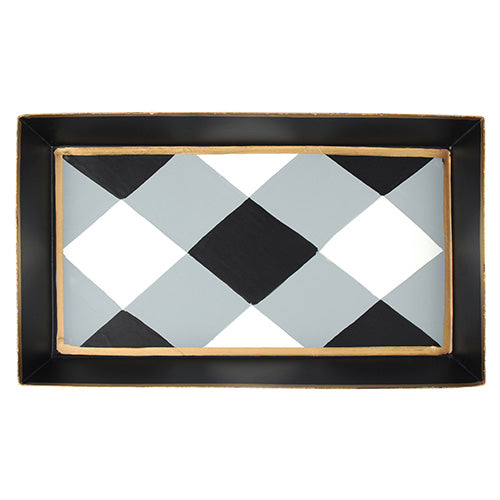 Buffalo Plaid Black Guest Towel Tray
