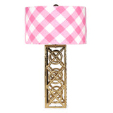 Buffalo Plaid Pink Draper Lamp (Brass Base)