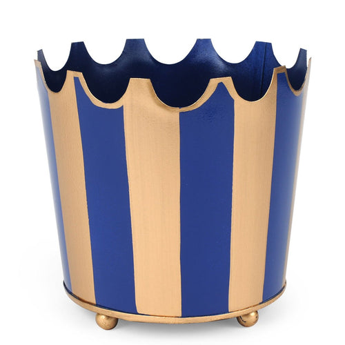 "Brush Stripe Navy 6"" Crown Top Cachepot"