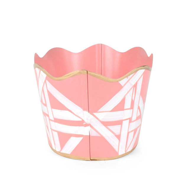 "Cane Pink 12"" Oval Cachepot"