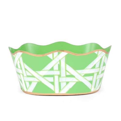 "Cane Green 8"" Oval Cachepot"