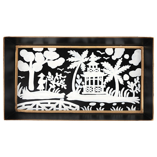 Shanghai Black Guest Towel Tray