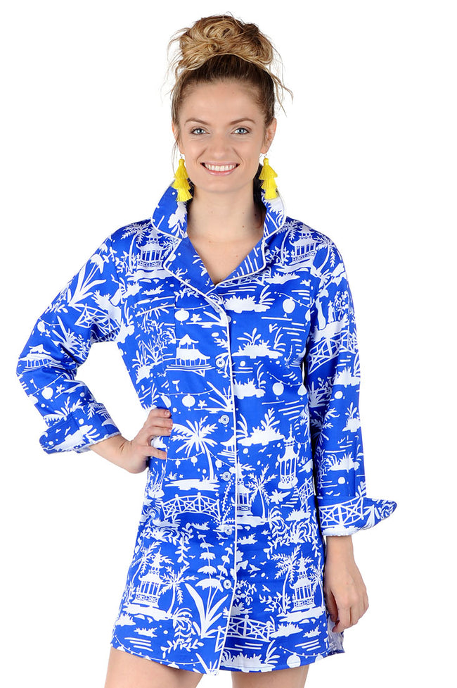 Shanghai Blue Sateen Sleep Shirt