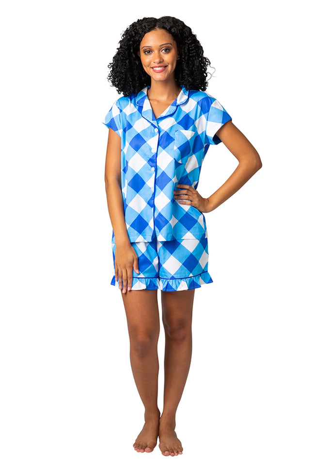 Buffalo Blue Sateen Ruffled Summer PJ Set