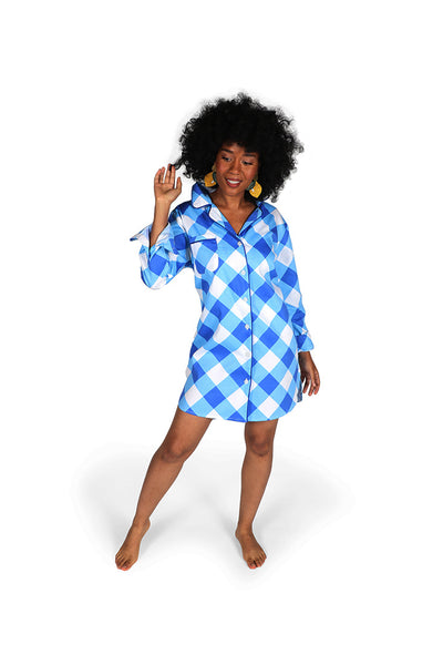 Buffalo Blue Sateen Sleep Shirt