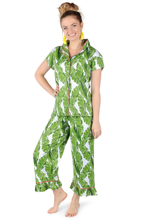 Banana Leaf Sateen Capri Pajama Set