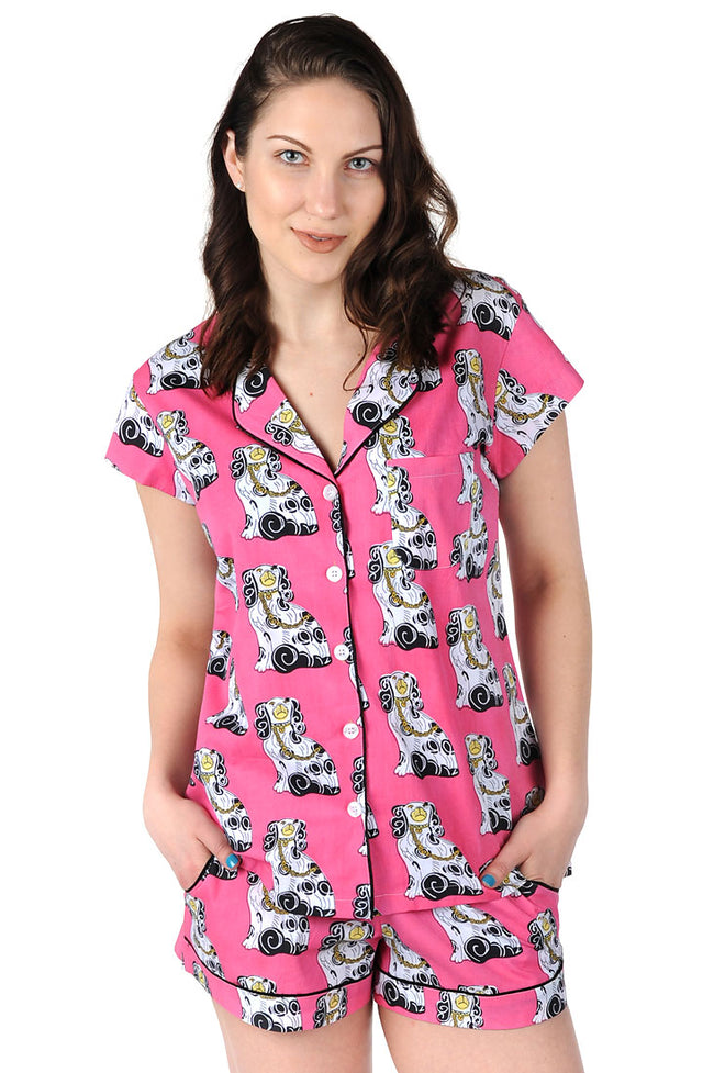 Staffordshire Dog Cotton Poplin Summer Pajama Set