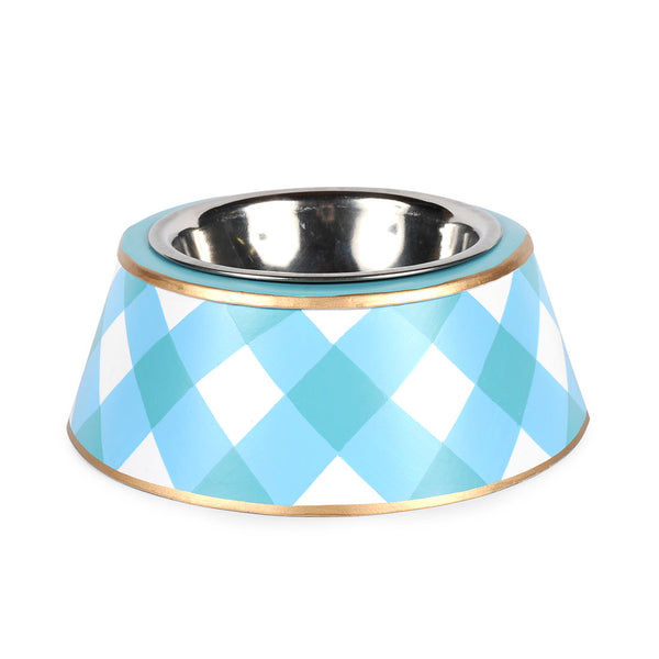 Gingham Turquoise Pet Bowl