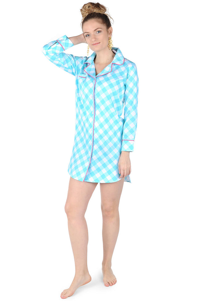 Gingham Turquoise Sateen Sleep Shirt