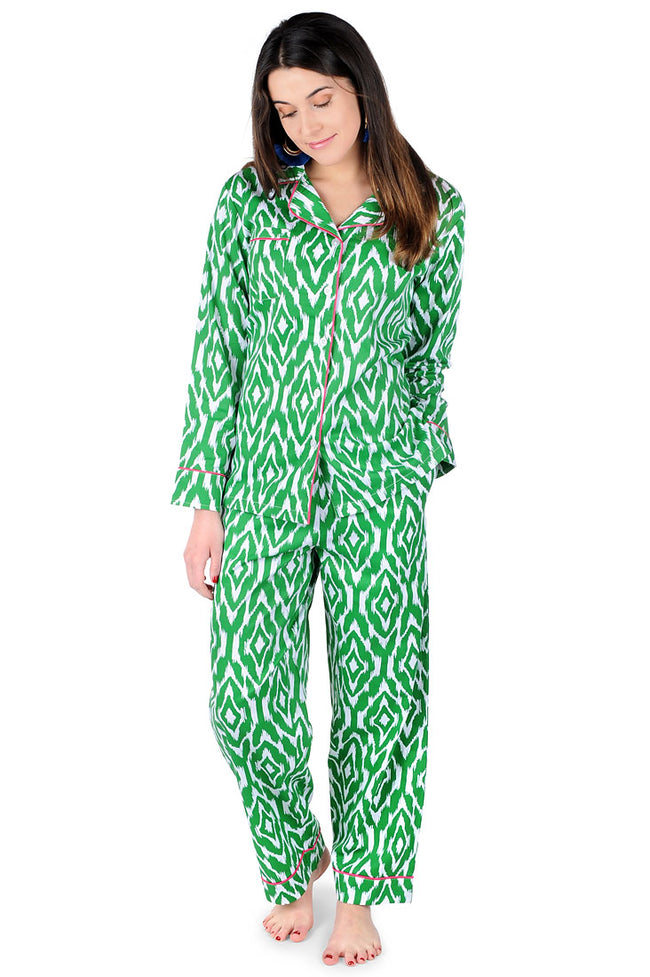 Ikat Green Sateen Full Pajama Set