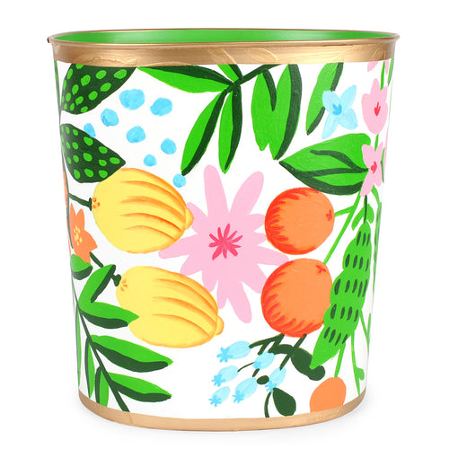 Floral Fruit Oval Wastebasket