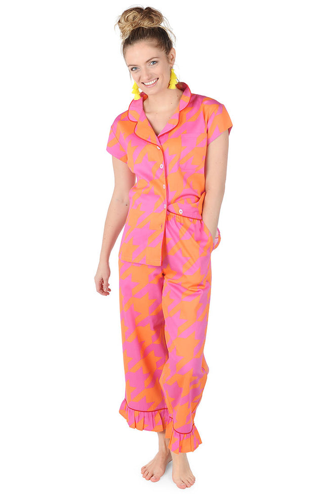 Houndstooth Sateen Capri Pajama Set