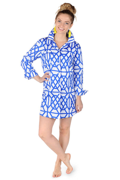 Don't Fret Blue Sateen Sleep Shirt